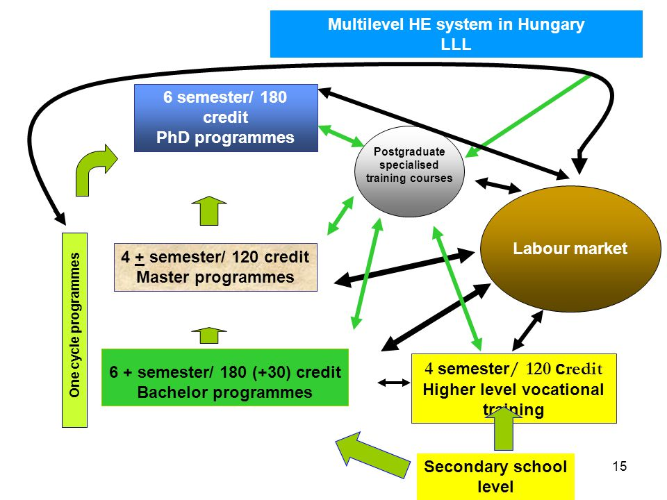 15 6 semester/ 180 credit PhD programmes One cycle programmes 4 + semester/ 120 credit Master programmes 6 + semester/ 180 (+30) credit Bachelor programmes 4 semester / 120 c redit Higher level vocational training Multilevel HE system in Hungary LLL Labour market Secondary school level Postgraduate specialised training courses