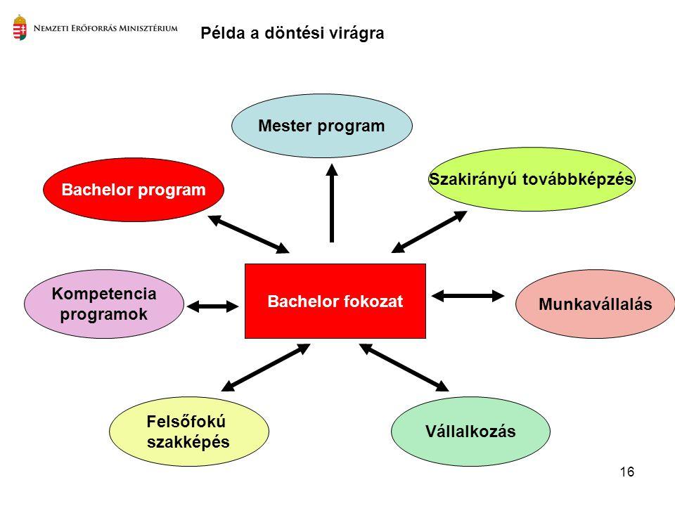 16 Bachelor fokozat Szakirányú továbbképzés Felsőfokú szakképés Mester program Kompetencia programok Munkavállalás Bachelor program Példa a döntési vi