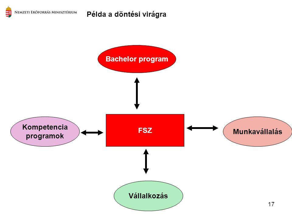 17 FSZ Kompetencia programok Munkavállalás Bachelor program Példa a döntési virágra Vállalkozás
