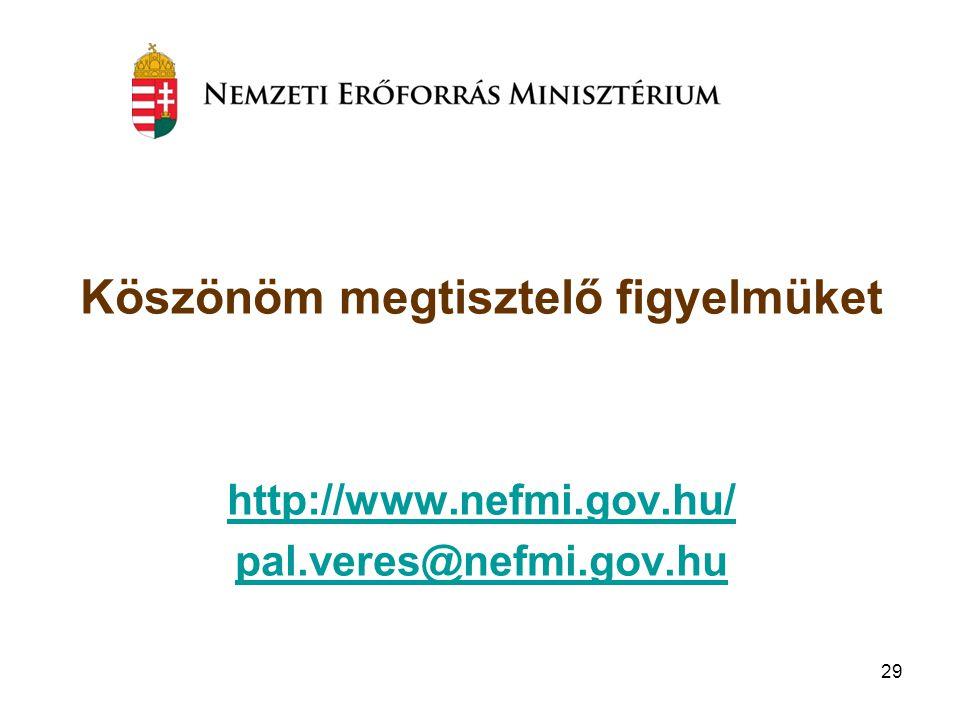 29 Köszönöm megtisztelő figyelmüket http://www.nefmi.gov.hu/ pal.veres@nefmi.gov.hu