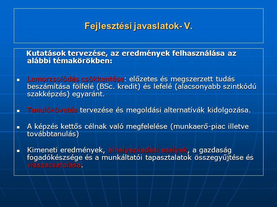 Fejlesztési javaslatok- V.
