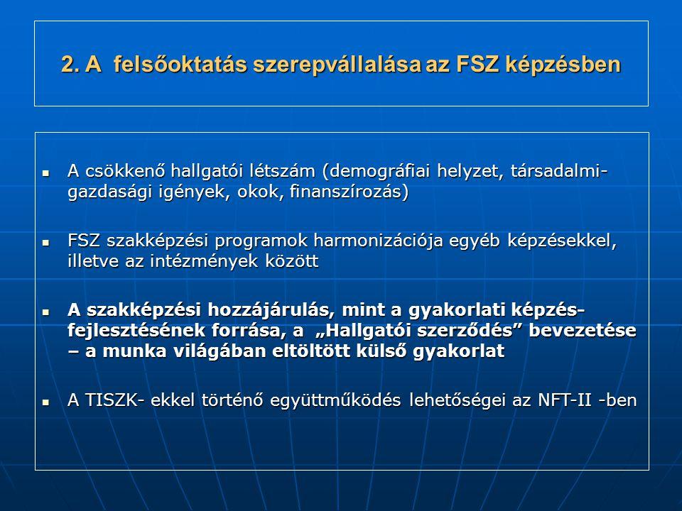 """A csökkenő hallgatói létszám (demográfiai helyzet, társadalmi- gazdasági igények, okok, finanszírozás) A csökkenő hallgatói létszám (demográfiai helyzet, társadalmi- gazdasági igények, okok, finanszírozás) FSZ szakképzési programok harmonizációja egyéb képzésekkel, illetve az intézmények között FSZ szakképzési programok harmonizációja egyéb képzésekkel, illetve az intézmények között A szakképzési hozzájárulás, mint a gyakorlati képzés- fejlesztésének forrása, a """"Hallgatói szerződés bevezetése – a munka világában eltöltött külső gyakorlat A szakképzési hozzájárulás, mint a gyakorlati képzés- fejlesztésének forrása, a """"Hallgatói szerződés bevezetése – a munka világában eltöltött külső gyakorlat A TISZK- ekkel történő együttműködés lehetőségei az NFT-II -ben A TISZK- ekkel történő együttműködés lehetőségei az NFT-II -ben 2."""