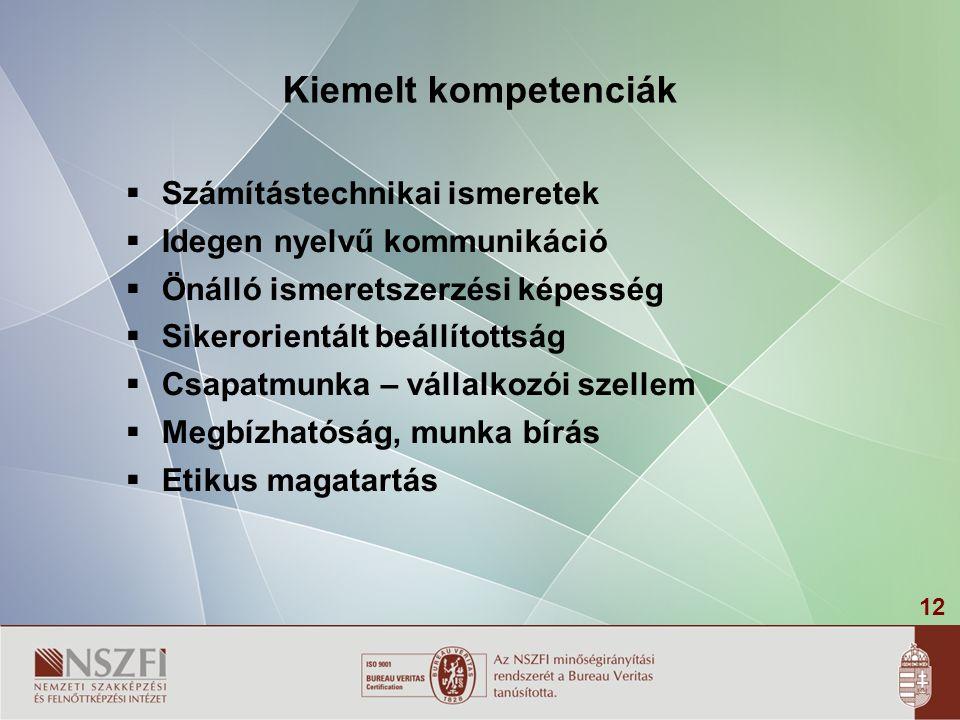 12 Kiemelt kompetenciák  Számítástechnikai ismeretek  Idegen nyelvű kommunikáció  Önálló ismeretszerzési képesség  Sikerorientált beállítottság 