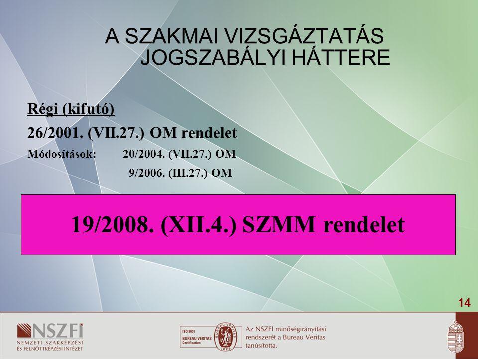 14 20/2007. (V.21.) SZMM rendelet A SZAKMAI VIZSGÁZTATÁS JOGSZABÁLYI HÁTTERE Régi (kifutó) 26/2001. (VII.27.) OM rendelet Módosítások: 20/2004. (VII.2