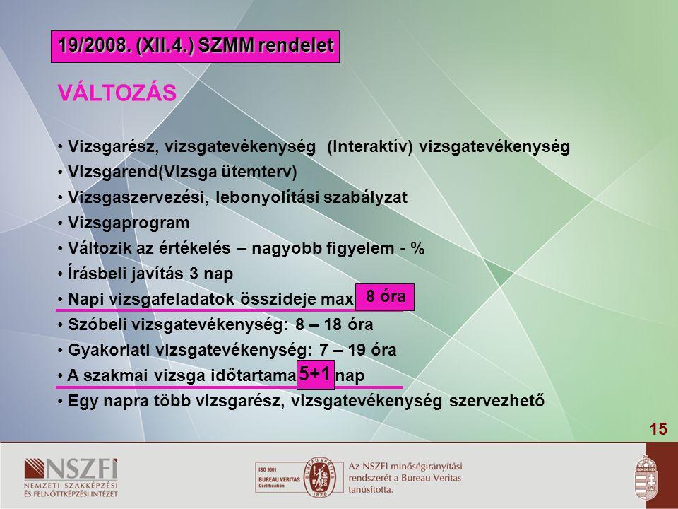 15 19/2008. (XII.4.) SZMM rendelet VÁLTOZÁS Vizsgarész, vizsgatevékenység (Interaktív) vizsgatevékenység Vizsgarend(Vizsga ütemterv) Vizsgaszervezési,