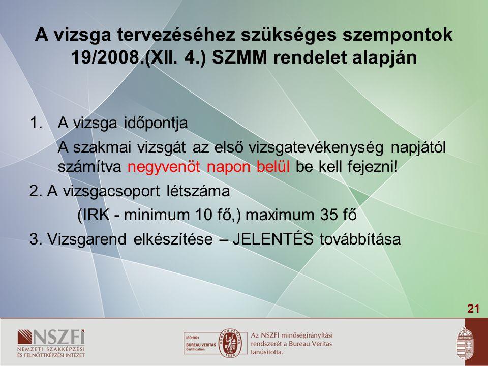 21 A vizsga tervezéséhez szükséges szempontok 19/2008.(XII. 4.) SZMM rendelet alapján 1.A vizsga időpontja A szakmai vizsgát az első vizsgatevékenység