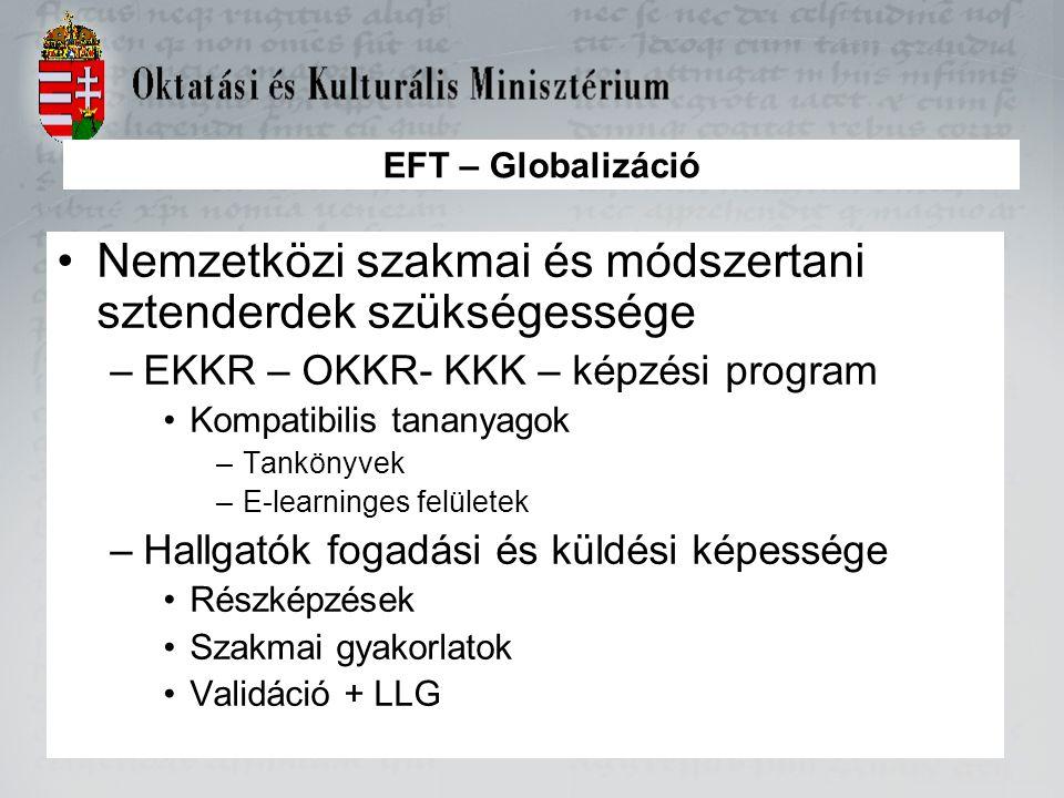 EFT – Globalizáció Nemzetközi szakmai és módszertani sztenderdek szükségessége –EKKR – OKKR- KKK – képzési program Kompatibilis tananyagok –Tankönyvek –E-learninges felületek –Hallgatók fogadási és küldési képessége Részképzések Szakmai gyakorlatok Validáció + LLG