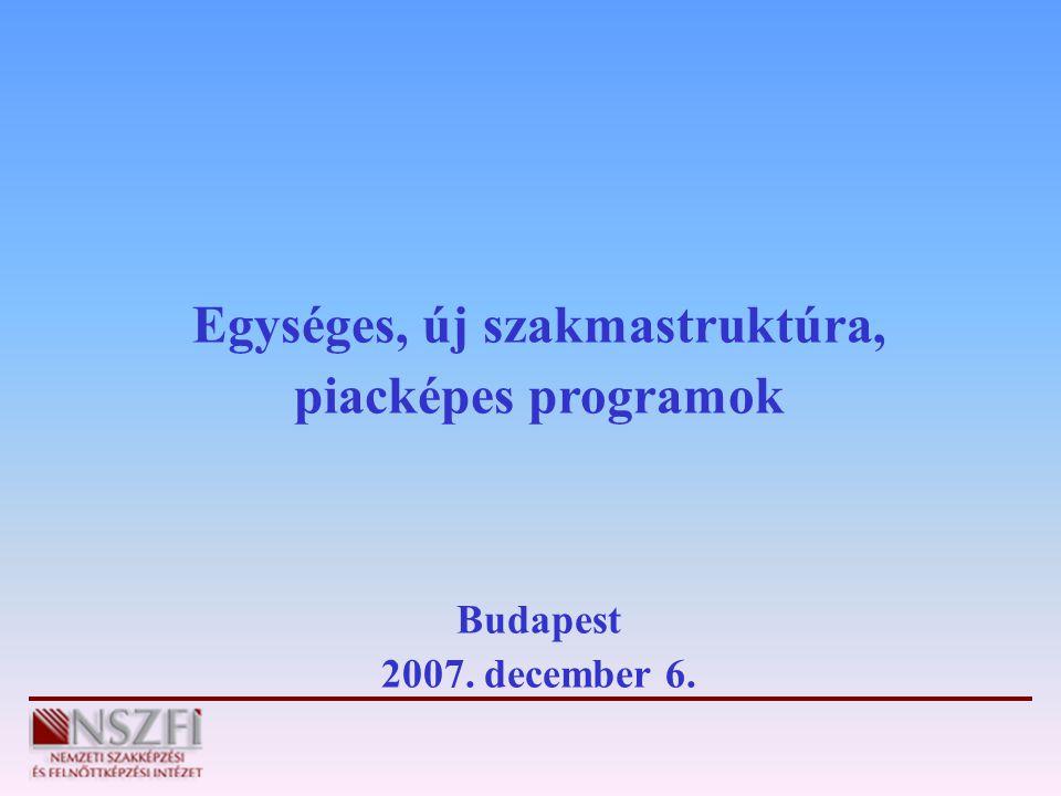Egységes, új szakmastruktúra, piacképes programok Budapest 2007. december 6.