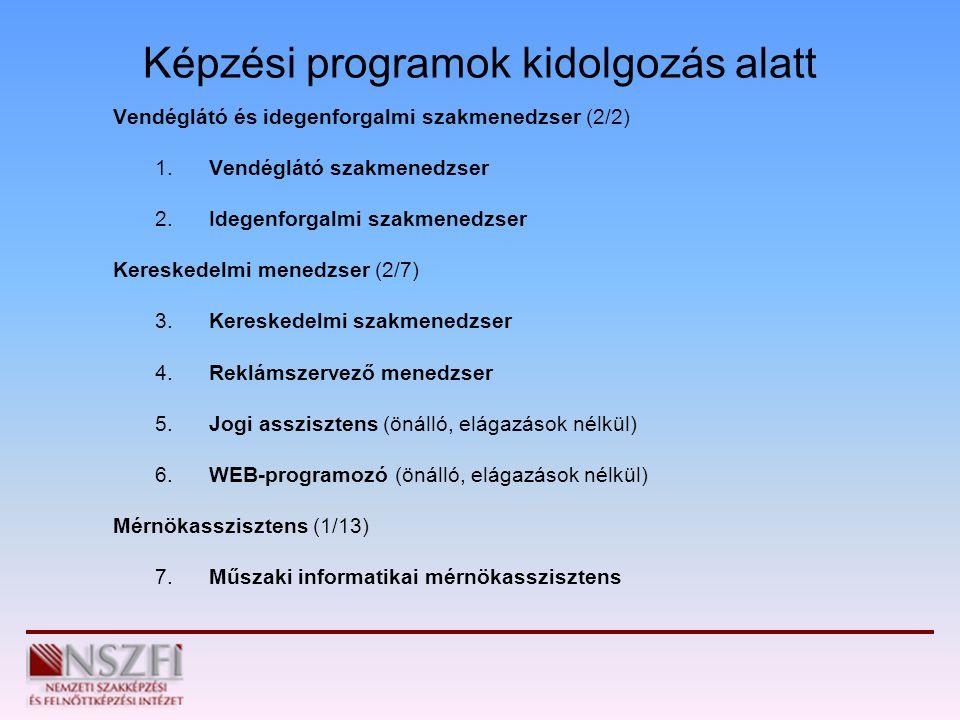Képzési programok kidolgozás alatt Vendéglátó és idegenforgalmi szakmenedzser (2/2) 1. Vendéglátó szakmenedzser 2. Idegenforgalmi szakmenedzser Keresk