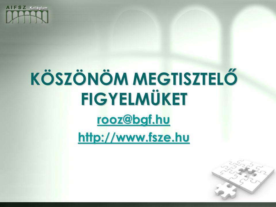 KÖSZÖNÖM MEGTISZTELŐ FIGYELMÜKET rooz@bgf.hu http://www.fsze.hu