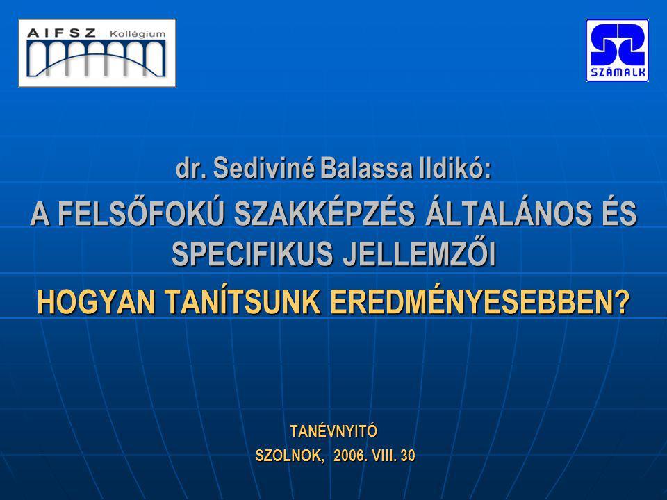 dr. Sediviné Balassa Ildikó: A FELSŐFOKÚ SZAKKÉPZÉS ÁLTALÁNOS ÉS SPECIFIKUS JELLEMZŐI HOGYAN TANÍTSUNK EREDMÉNYESEBBEN? TANÉVNYITÓ SZOLNOK, 2006. VIII