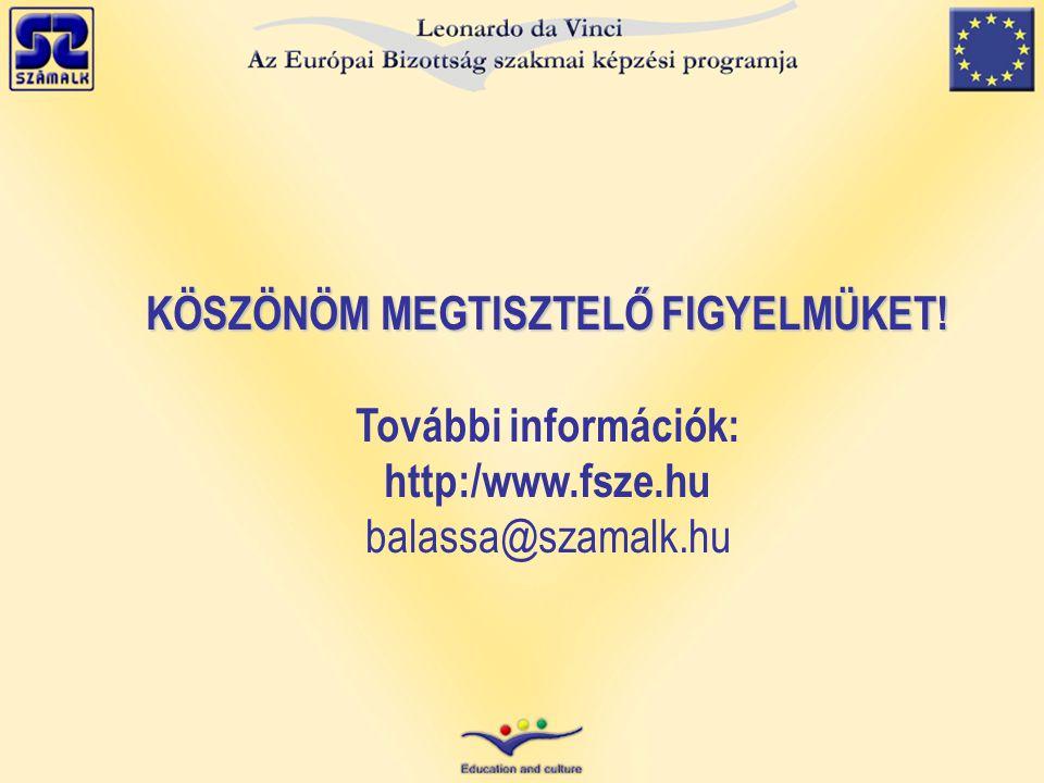 KÖSZÖNÖM MEGTISZTELŐ FIGYELMÜKET! További információk: http:/www.fsze.hu balassa@szamalk.hu