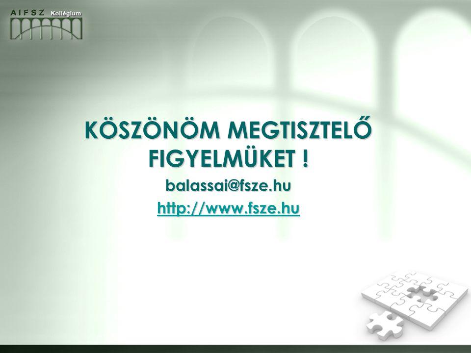 KÖSZÖNÖM MEGTISZTELŐ FIGYELMÜKET ! balassai@fsze.hu http://www.fsze.hu