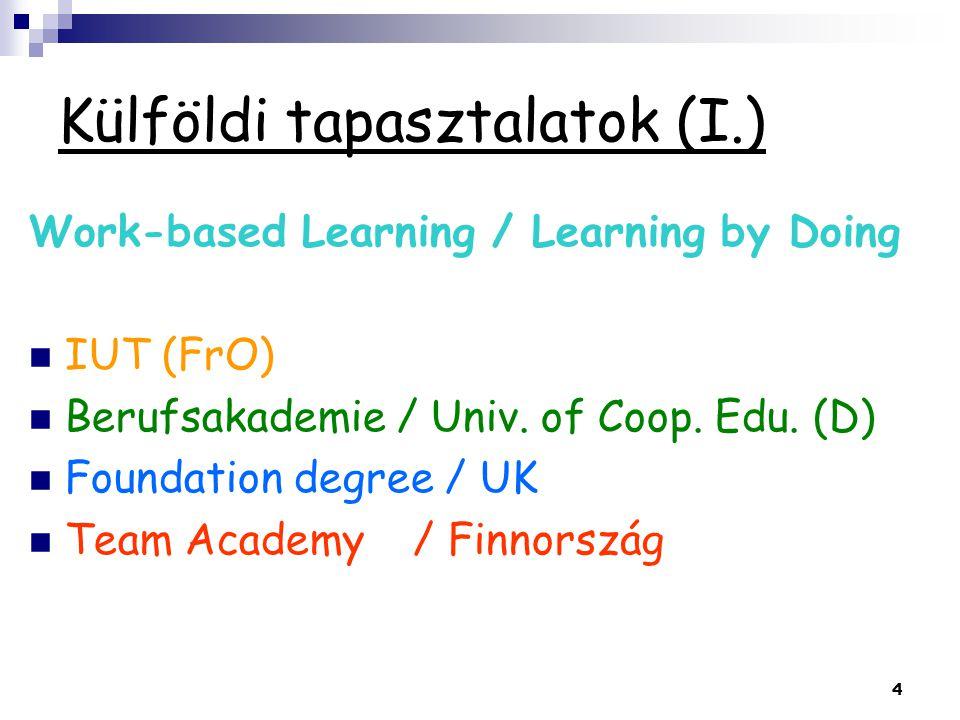 4 Külföldi tapasztalatok (I.) Work-based Learning / Learning by Doing IUT (FrO) Berufsakademie / Univ. of Coop. Edu. (D) Foundation degree / UK Team A