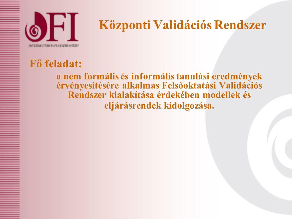 Központi Validációs Rendszer Fő feladat: a nem formális és informális tanulási eredmények érvényesítésére alkalmas Felsőoktatási Validációs Rendszer kialakítása érdekében modellek és eljárásrendek kidolgozása.