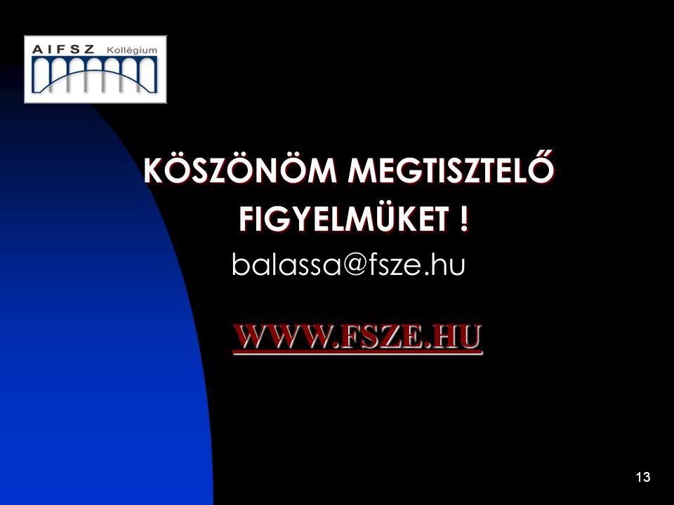 13 KÖSZÖNÖM MEGTISZTELŐ FIGYELMÜKET ! FIGYELMÜKET ! balassa@fsze.hu WWW.FSZE.HU