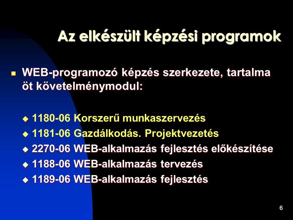 6 Az elkészült képzési programok WEB-programozó képzés szerkezete, tartalma öt követelménymodul: WEB-programozó képzés szerkezete, tartalma öt követelménymodul:   1180-06 Korszerű munkaszervezés  1181-06 Gazdálkodás.