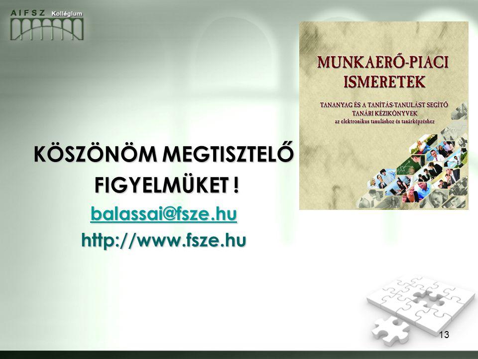 13 KÖSZÖNÖM MEGTISZTELŐ FIGYELMÜKET ! FIGYELMÜKET ! balassai@fsze.hu http://www.fsze.hu
