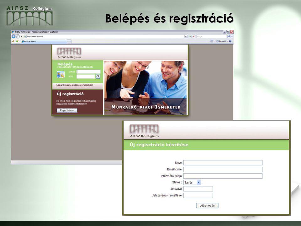 8 Belépés és regisztráció