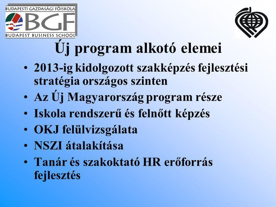 Új program alkotó elemei 2013-ig kidolgozott szakképzés fejlesztési stratégia országos szinten Az Új Magyarország program része Iskola rendszerű és felnőtt képzés OKJ felülvizsgálata NSZI átalakítása Tanár és szakoktató HR erőforrás fejlesztés