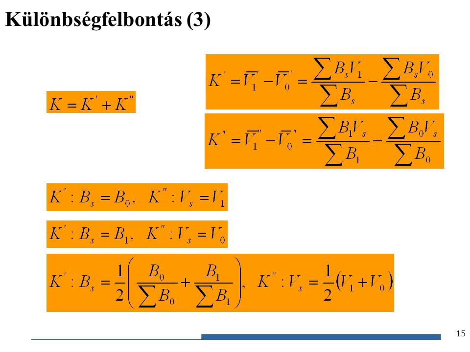Gazdaságstatisztika, 2012 Különbségfelbontás (3) 15