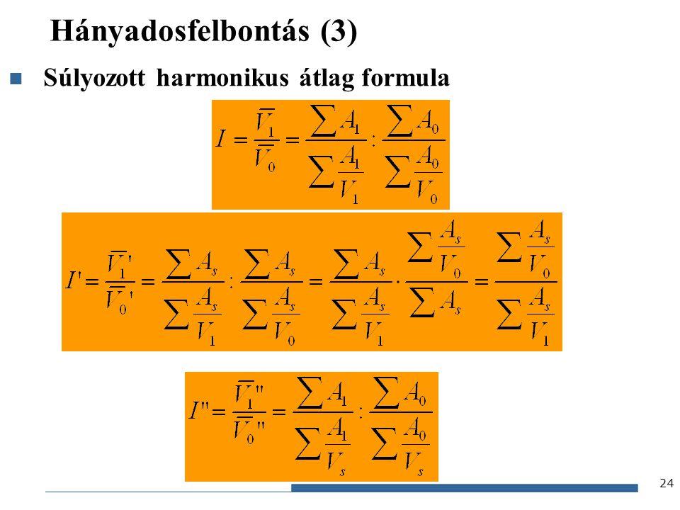 Gazdaságstatisztika, 2012 Hányadosfelbontás (3) 24 Súlyozott harmonikus átlag formula