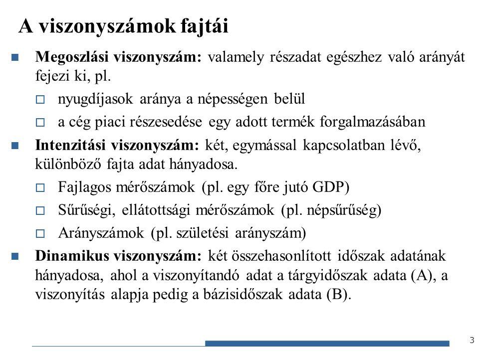 Gazdaságstatisztika, 2012 Különbségfelbontás (2) teljes, részhatás-, összetételhatás-különbség standard súly 14 standard súly Súlyozott számtani átlag formulát használva