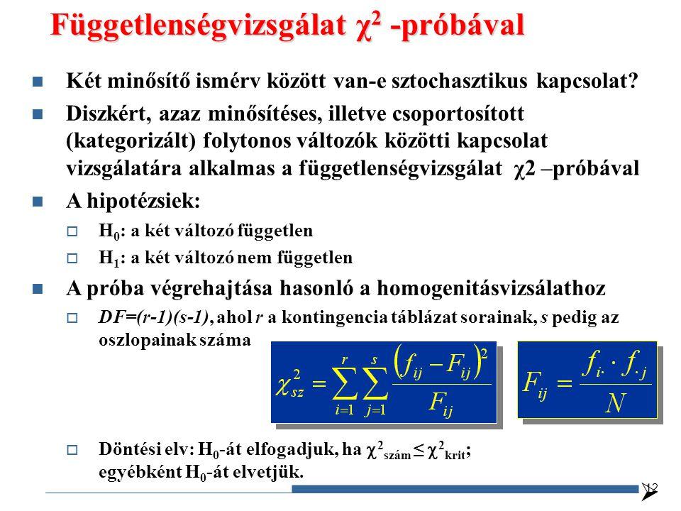  Függetlenségvizsgálat χ 2 -próbával 12 Két minősítő ismérv között van-e sztochasztikus kapcsolat.