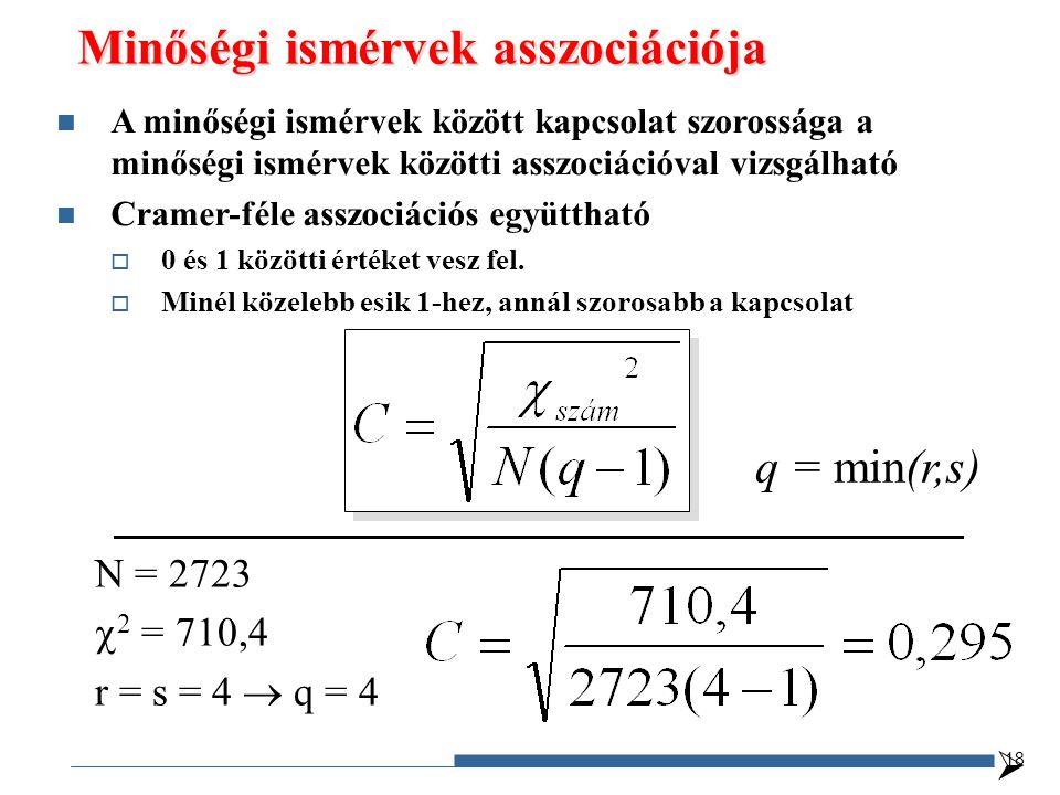 Minőségi ismérvek asszociációja q = min(r,s) N = 2723  2 = 710,4 r = s = 4  q = 4  18 A minőségi ismérvek között kapcsolat szorossága a minőségi ismérvek közötti asszociációval vizsgálható Cramer-féle asszociációs együttható  0 és 1 közötti értéket vesz fel.