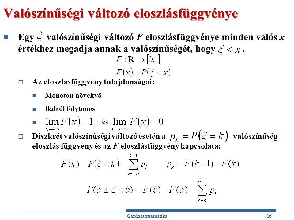 Valószínűségi változó eloszlásfüggvénye Egy valószínűségi változó F eloszlásfüggvénye minden valós x értékhez megadja annak a valószínűségét, hogy. 