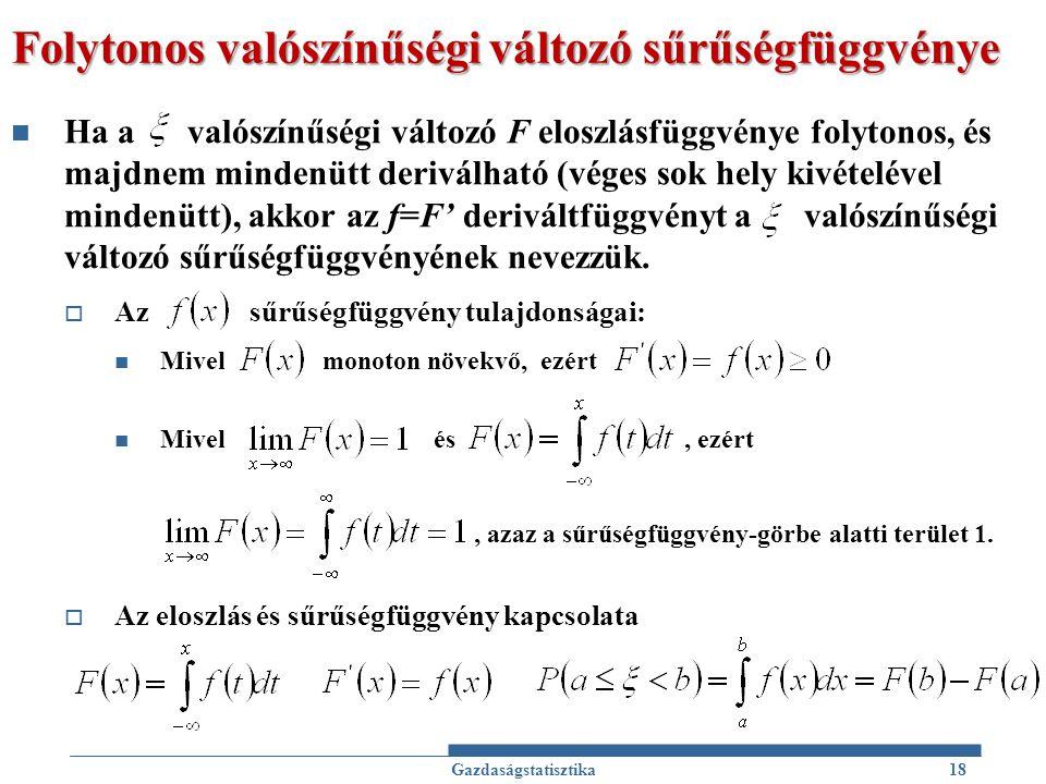 Folytonos valószínűségi változó sűrűségfüggvénye Ha a valószínűségi változó F eloszlásfüggvénye folytonos, és majdnem mindenütt deriválható (véges sok