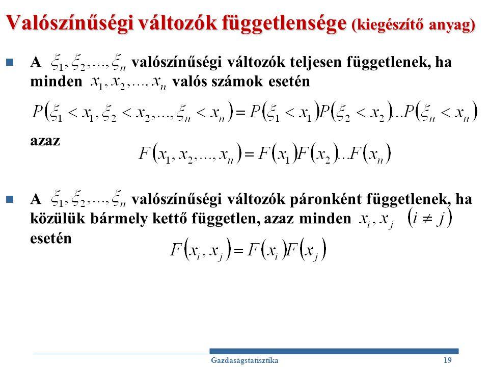 Valószínűségi változók függetlensége (kiegészítő anyag) A valószínűségi változók teljesen függetlenek, ha minden valós számok esetén azaz A valószínűs