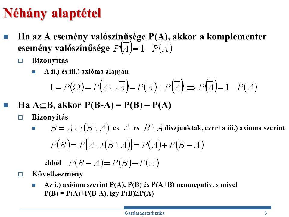 Néhány alaptétel Ha az A esemény valószínűsége P(A), akkor a komplementer esemény valószínűsége  Bizonyítás A ii.) és iii.) axióma alapján Ha A  B,