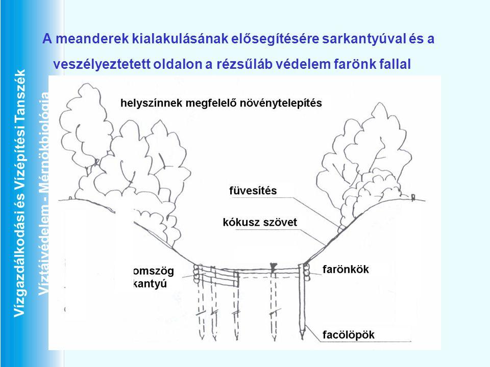Vízgazdálkodási és Vízépítési Tanszék Víztájvédelem - Mérnökbiológia A meanderek kialakulásának elősegítésére sarkantyúval és a veszélyeztetett oldalo