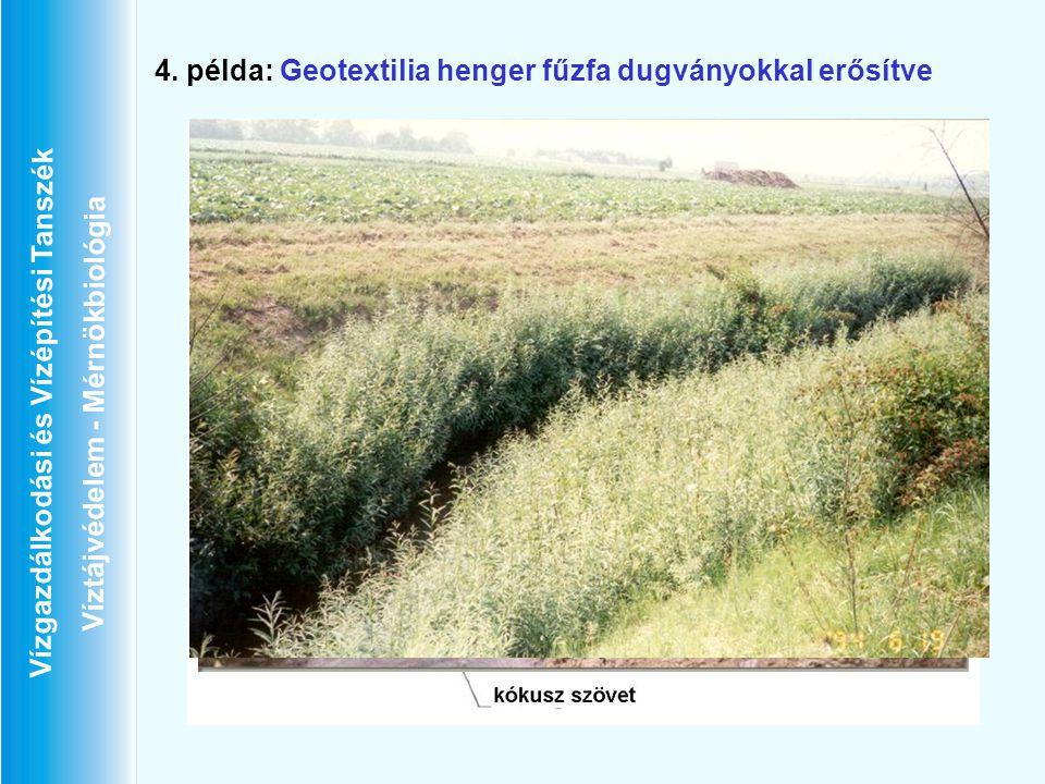 Vízgazdálkodási és Vízépítési Tanszék Víztájvédelem - Mérnökbiológia 4. példa: Geotextilia henger fűzfa dugványokkal erősítve