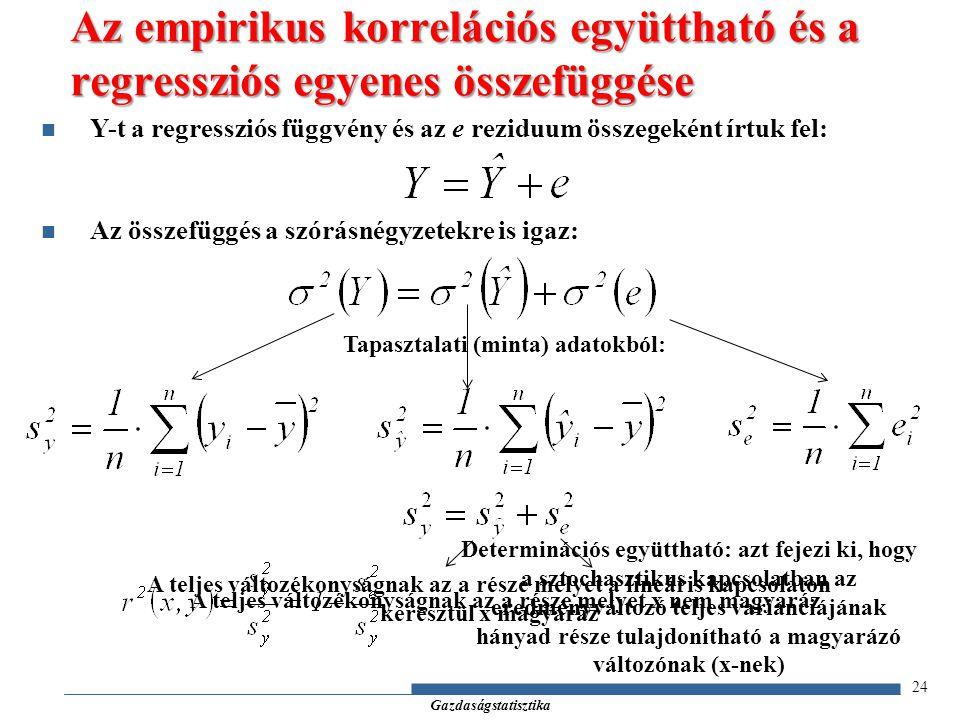 Gazdaságstatisztika 24 Az empirikus korrelációs együttható és a regressziós egyenes összefüggése Y-t a regressziós függvény és az e reziduum összegeként írtuk fel: Az összefüggés a szórásnégyzetekre is igaz: Tapasztalati (minta) adatokból: A teljes változékonyságnak az a része melyet a lineáris kapcsolaton keresztül x magyaráz A teljes változékonyságnak az a része melyet x nem magyaráz Determinációs együttható: azt fejezi ki, hogy a sztochasztikus kapcsolatban az eredményváltozó teljes varianciájának hányad része tulajdonítható a magyarázó változónak (x-nek)