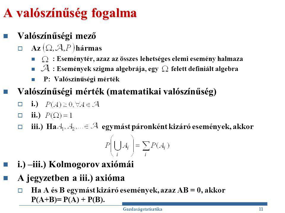 A valószínűség fogalma Valószínűségi mező  Az hármas : Eseménytér, azaz az összes lehetséges elemi esemény halmaza : Események szigma algebrája, egy felett definiált algebra P: Valószínűségi mérték Valószínűségi mérték (matematikai valószínűség)  i.)  ii.)  iii.) Ha egymást páronként kizáró események, akkor i.) –iii.) Kolmogorov axiómái A jegyzetben a iii.) axióma  Ha A és B egymást kizáró események, azaz AB = 0, akkor P(A+B)= P(A) + P(B).