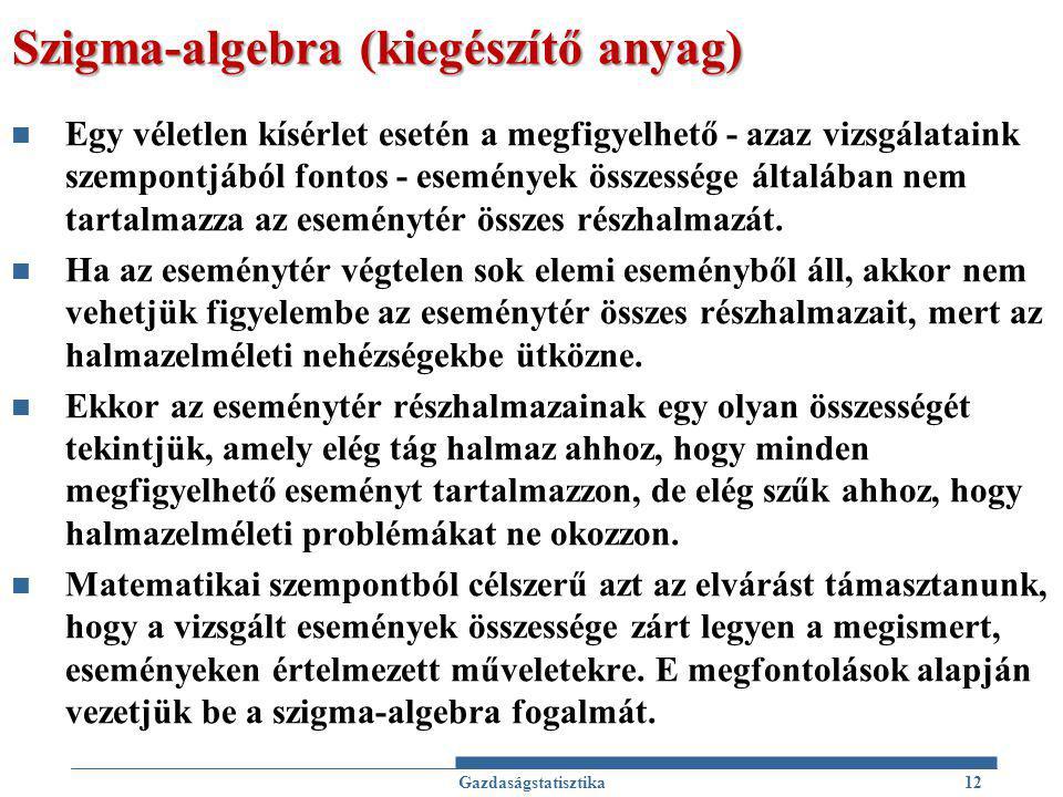 Szigma-algebra (kiegészítő anyag) Egy véletlen kísérlet esetén a megfigyelhető - azaz vizsgálataink szempontjából fontos - események összessége általában nem tartalmazza az eseménytér összes részhalmazát.