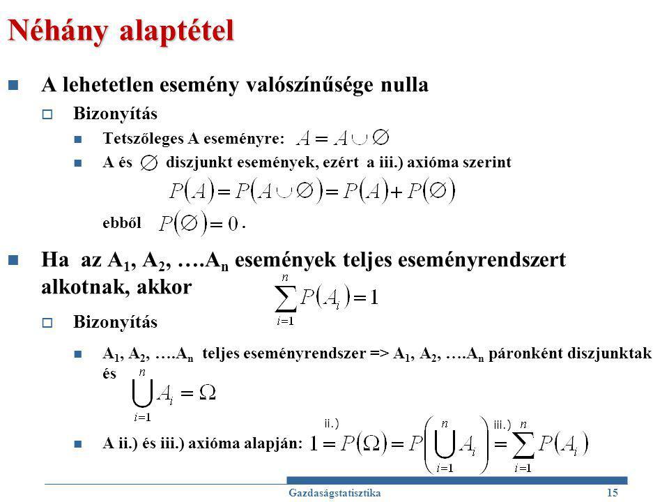 Néhány alaptétel A lehetetlen esemény valószínűsége nulla  Bizonyítás Tetszőleges A eseményre: A és diszjunkt események, ezért a iii.) axióma szerint ebből.