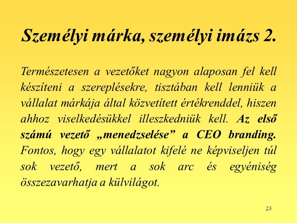 23 Személyi márka, személyi imázs 2. Természetesen a vezetőket nagyon alaposan fel kell készíteni a szereplésekre, tisztában kell lenniük a vállalat m