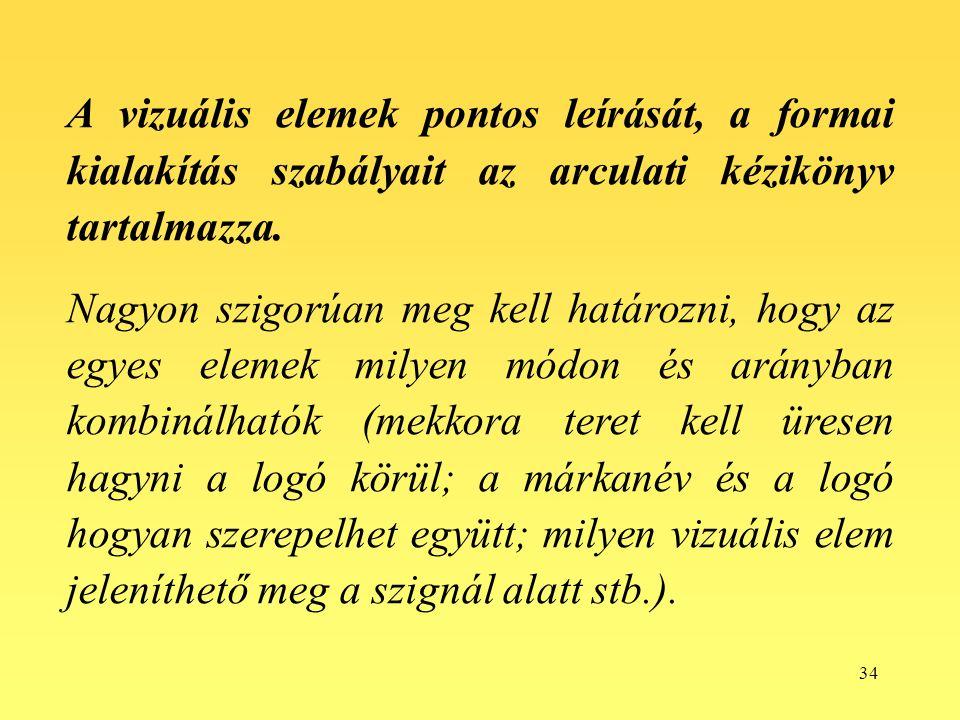 34 A vizuális elemek pontos leírását, a formai kialakítás szabályait az arculati kézikönyv tartalmazza. Nagyon szigorúan meg kell határozni, hogy az e