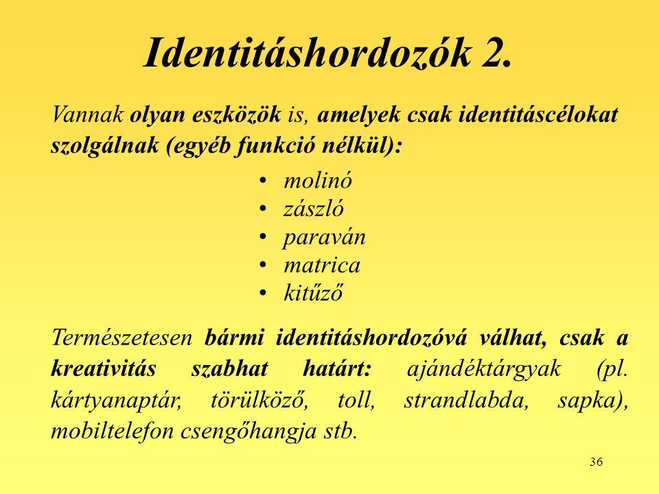 36 Identitáshordozók 2. Vannak olyan eszközök is, amelyek csak identitáscélokat szolgálnak (egyéb funkció nélkül): molinó zászló paraván matrica kitűz