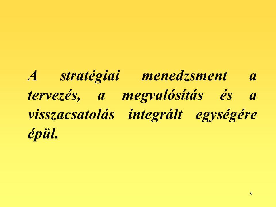 9 A stratégiai menedzsment a tervezés, a megvalósítás és a visszacsatolás integrált egységére épül.