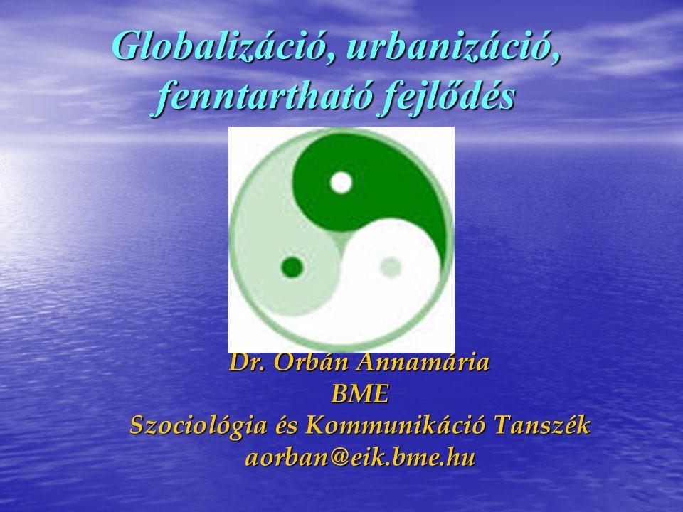 Globalizáció, urbanizáció, fenntartható fejlődés Dr. Orbán Annamária BME Szociológia és Kommunikáció Tanszék aorban@eik.bme.hu
