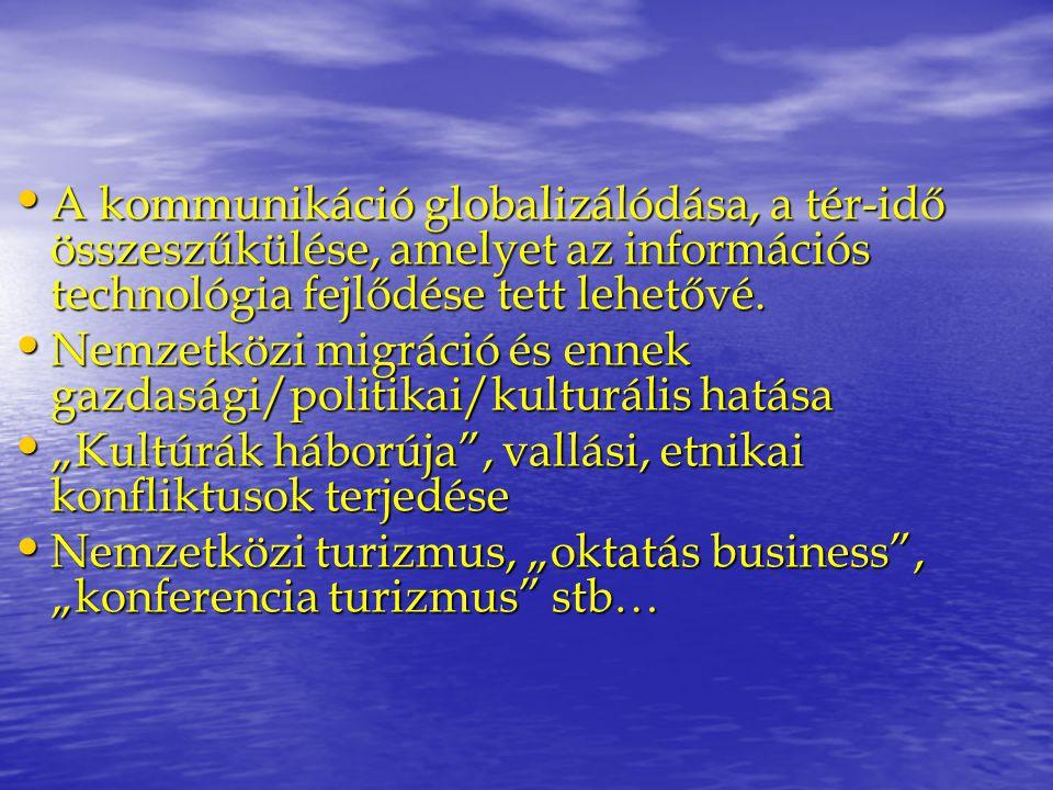 A kommunikáció globalizálódása, a tér-idő összeszűkülése, amelyet az információs technológia fejlődése tett lehetővé. A kommunikáció globalizálódása,