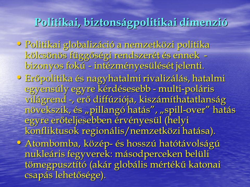 Politikai, biztonságpolitikai dimenzió Politikai globalizáció a nemzetközi politika kölcsönös függőségi rendszerét és ennek - bizonyos fokú - intézmén