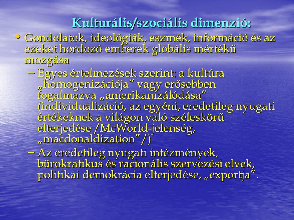 Kulturális/szociális dimenzió: Gondolatok, ideológiák, eszmék, információ és az ezeket hordozó emberek globális mértékű mozgása Gondolatok, ideológiák