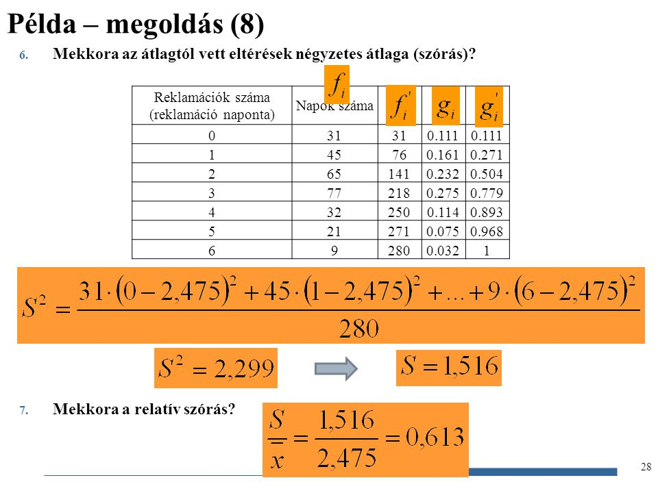 Gazdaságstatisztika, 2012 6. Mekkora az átlagtól vett eltérések négyzetes átlaga (szórás)? 7. Mekkora a relatív szórás? Példa – megoldás (8) 28 Reklam