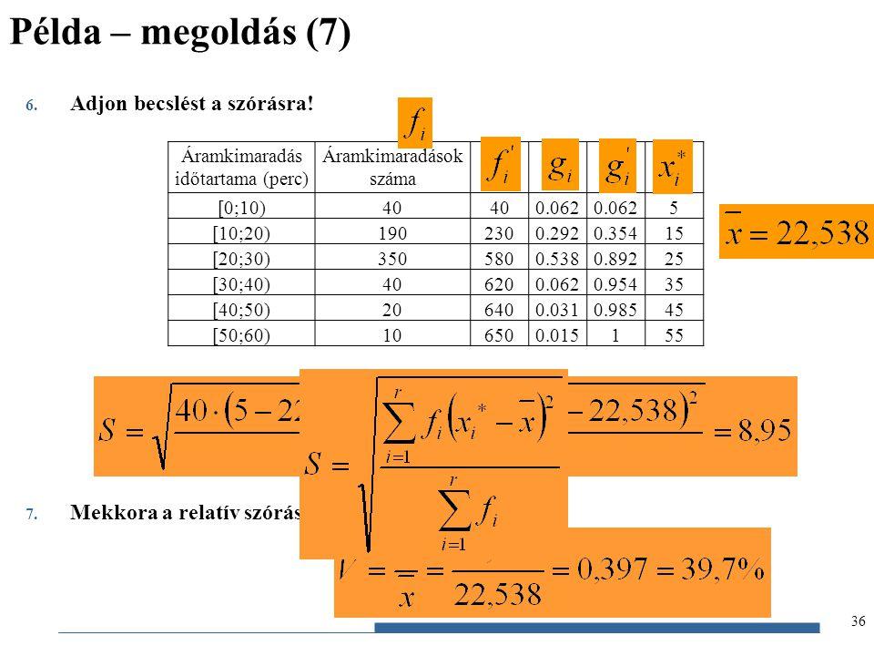 Gazdaságstatisztika, 2012 6. Adjon becslést a szórásra! 7. Mekkora a relatív szórás? Áramkimaradás időtartama (perc) Áramkimaradások száma [0;10)40 0.