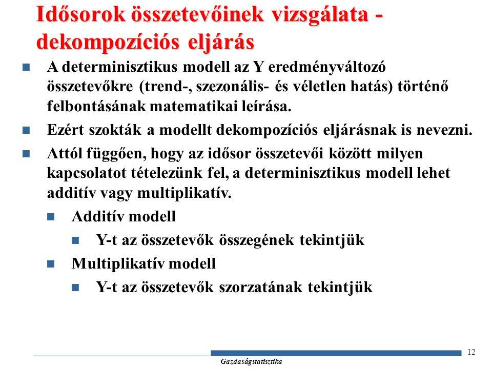 Gazdaságstatisztika 12 A determinisztikus modell az Y eredményváltozó összetevőkre (trend-, szezonális- és véletlen hatás) történő felbontásának matem